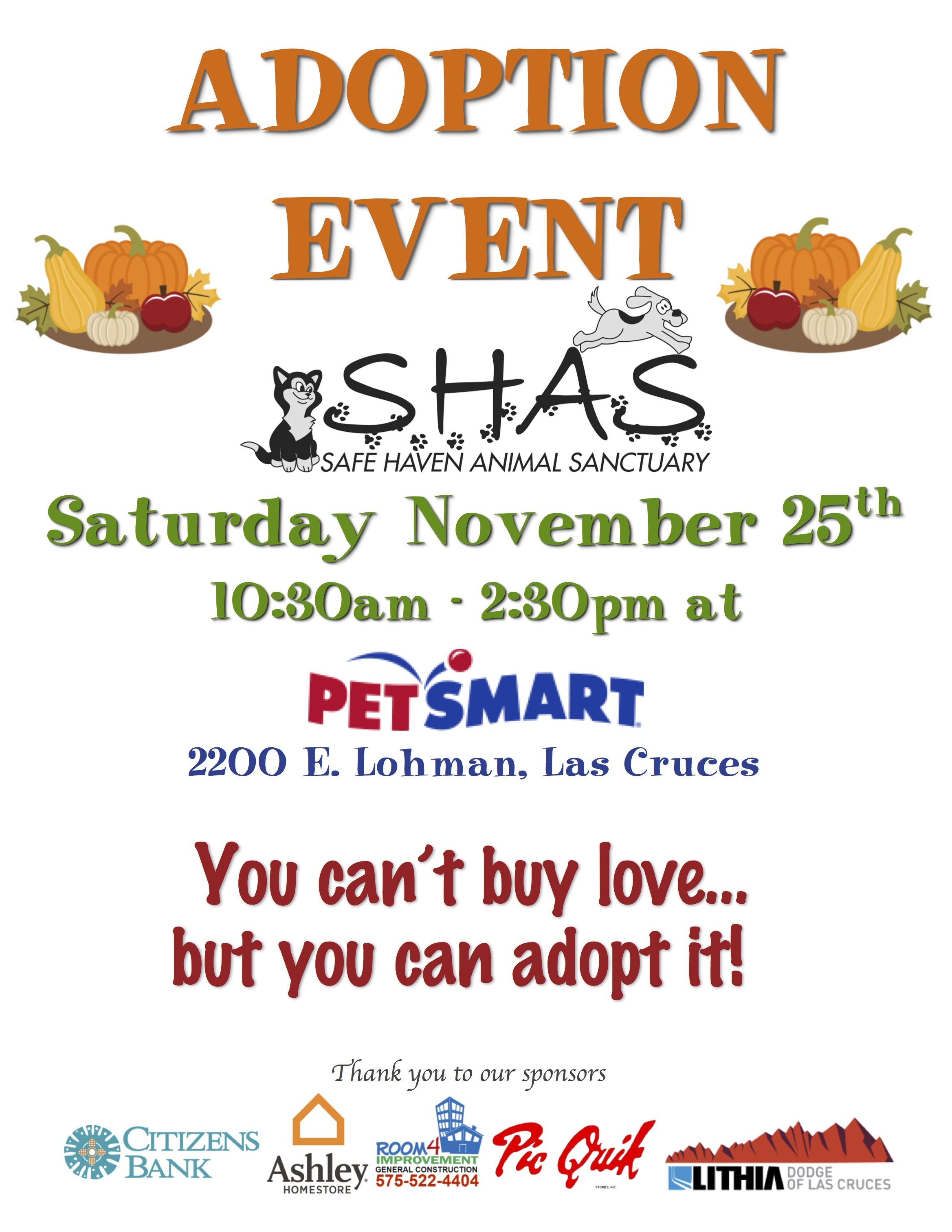 SHAS Adoptions at PetSmart - Safe Haven Animal Sanctuary